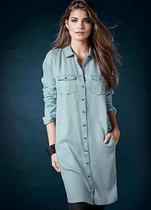 Джинсовое платье-рубашка esmara,светлоголубое,38/мр.,можно на 40/l.