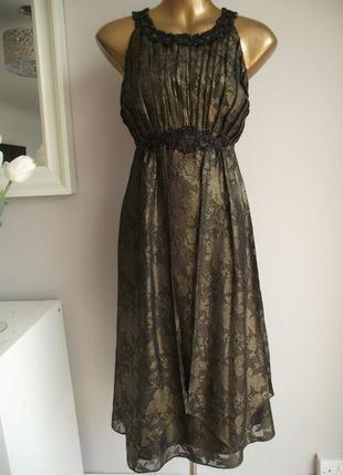 Monsoon роскошное эксклюзивное платье с декором, лён+вискоза, р.10-38