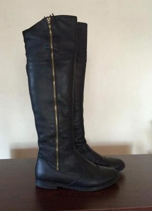 Крутые актуальные черные ботфорты в стиле zara сапоги сапожки кожаные зимние