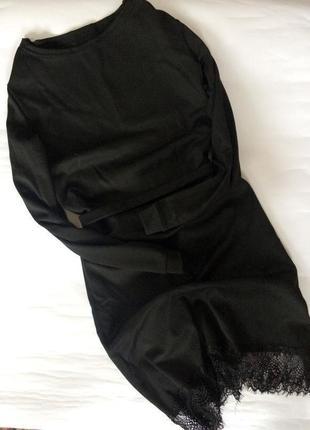 Крутое актуальное черное платье в стиле zara по низу кружево завязывается на поясок
