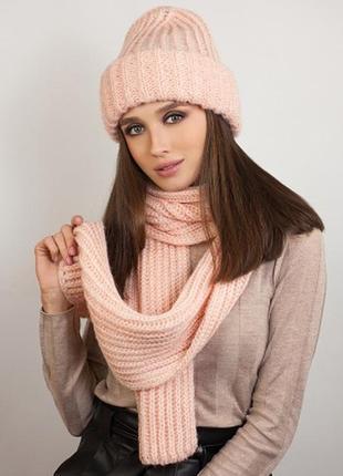 Комплект зима,шапка на флисе и шарф с люрексом