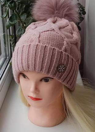 Новая удлиненная шапка с натурал.помпоном (на флисе) розовая пудра