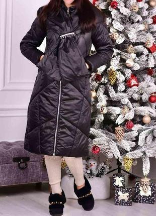 Новый удлиненный пуховик - пальто с шикарным капюшоном! 46/48 размеры!