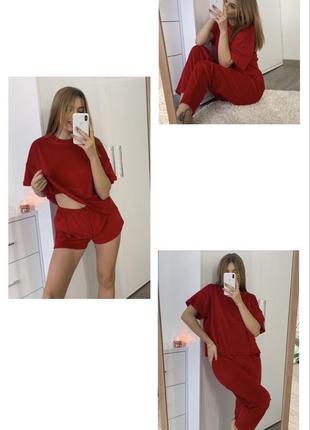 Велюровая пижама тройка красная