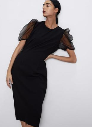 Платье футляр черное с рукавами фонариками zara s m