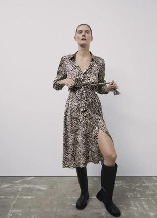 Сатинова сукня з тваринним принтом, zara! оригінал, з німеччини/португалії!