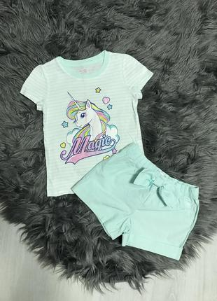 Комплект ,набор шорты и футболка с единорогом