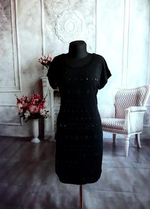 Нарядное вечернее платье чёрное пайетки