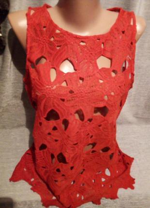 Красивая гипюровая блузочка без рукавов 1088