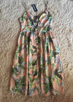 Новое фирменное невероятно крутое платье, сарафан миди boohoo, м