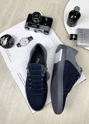 Энзо синяя перфорация туфли комфорт
