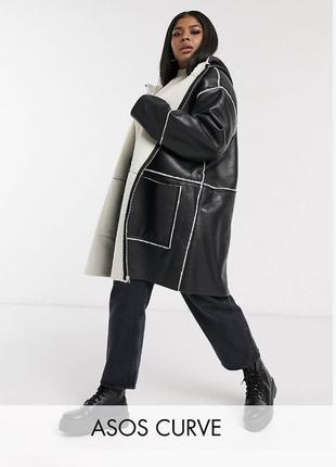 Демисезонная куртка с капюшоном, дубленка с мехом парка большого размера оверсайз asos