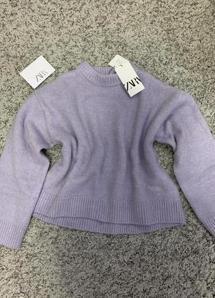 Вязаный свитер лавандового цвета