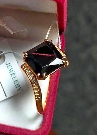 Black prince -невероятное колечко с чёрным камнем, 19рр позолота18к, мед. золото