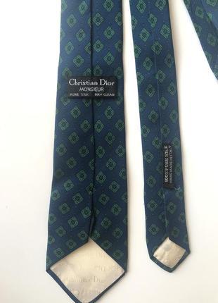 Шелковый винтажный галстук christian dior