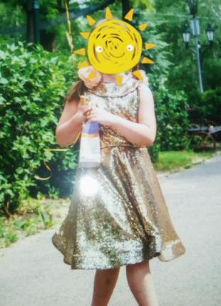 Платье золотое паетки