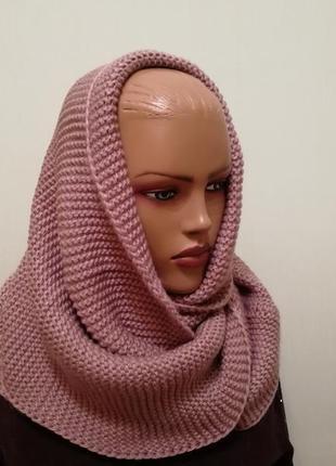 Стильный шарф хомут снуд пыльная роза