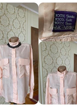 💯 % шёлк винтаж нежная воздушная шелковая рубашка