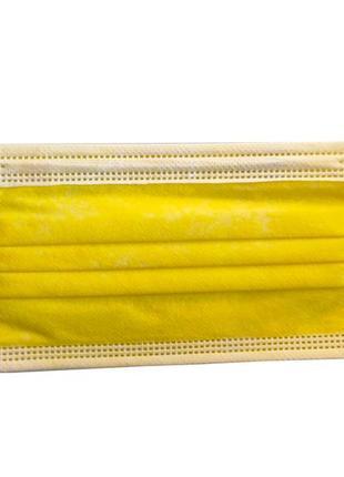 Маска для лица, желтая, 3хслойная, с фильтром (мельтблаун), 50 шт в коробке,
