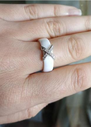 Кільце біле кераміка керамическое керамічне кольцо колечко керамика2 фото