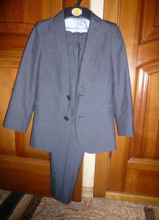 Школьный костюм форма пиджак брюки m&s autograph 7-8 лет 122-128 см темно-серый