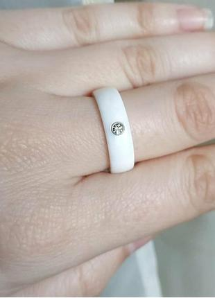 Кільце біле кераміка керамическое керамічне кольцо колечко керамика5 фото