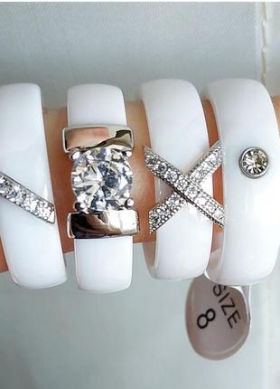 Кільце біле кераміка керамическое керамічне кольцо колечко керамика1 фото