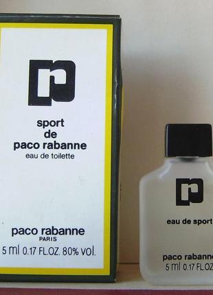 Paco rabanne sport de paco- edt - 5 мл. оригінал. вінтаж