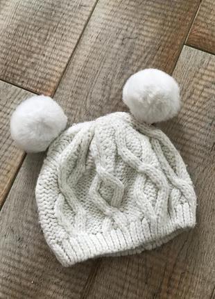 Тепла шапка на дівчинку 12-18