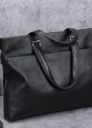 Мужской кожаный деловой портфель чёрный, сумка для документов,чоловічий діловий портфель
