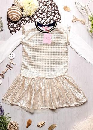 Золотое нарядное платье сарафан с белым регланом для девочки ovs kids италия
