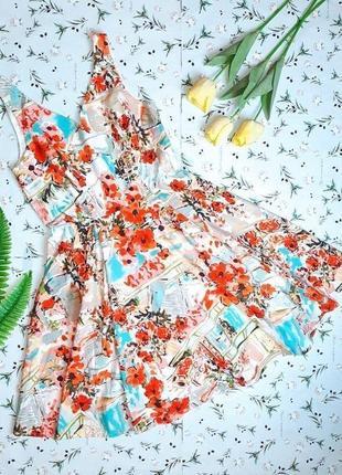 🌿1+1=3 стильное яркое хлопковое платье миди с юбкой колокольчик tu, размер 46 - 48