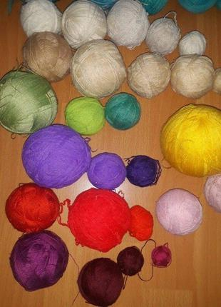 Набор ниток для вязания, нитки, нити, пряжа, клубки, для в'язання ссср