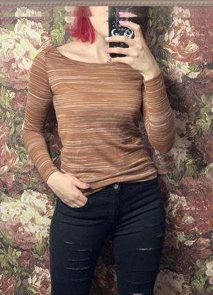 Лонгслив кофта коричневая с белым