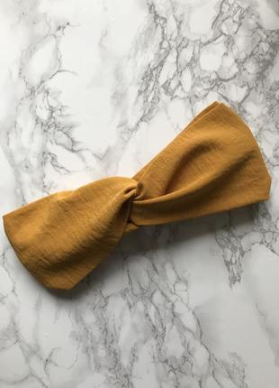 Широкая повязка на голову/тюрбан в горчичном цвете