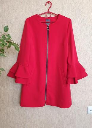 Стильное, яркое пальто,  удлиненный пиджак на молнии primark
