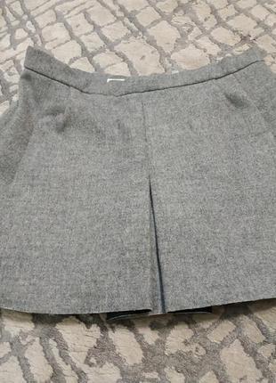 Серая пышная короткая юбка zara с карманами