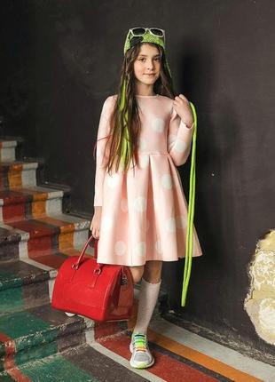 Платье kidscouture неопрен розовое в крупный горошек (1723103189)