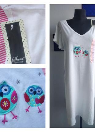 🦉🦉🌲уютная хлопковая ночная рубашка/ночнушка с совами р-р l secret possessions 🦉🌲🦉