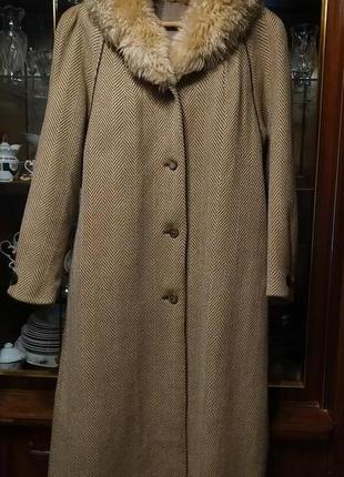 Пальто миди, зимнее, ткань в елочку 100% шерсть, воротник натуральная овчина