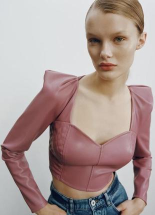 Топ кофта блуза кожа шкіра еко кожанная зара2 фото