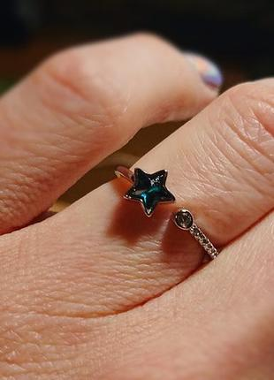 Серебряное кольцо, кольцо со звездой, колечко космос