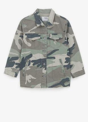 Коттоновая плотная рубашка камуфляж zara расцветка милитари хаки