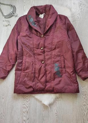 Дутая обьемная оверсайз деми куртка пальто пуховик бордовая марсала с цветочным принтом