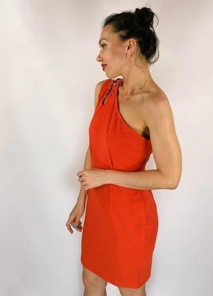 Морковное платье на одно плечо
