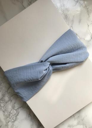Стильная широкая повязка на голову/тюрбан в голубом цвете