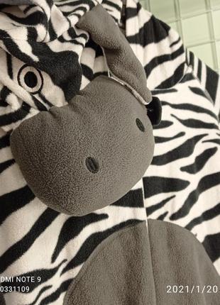 Флісова піжама, кігурумі зебра, розмір l-xl