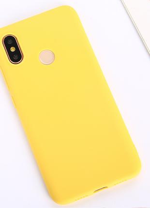 Желтый силиконовый чехол для redmi 6 pro / большая распродажа!