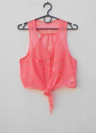 Летняя легкая блузка топ без рукавов