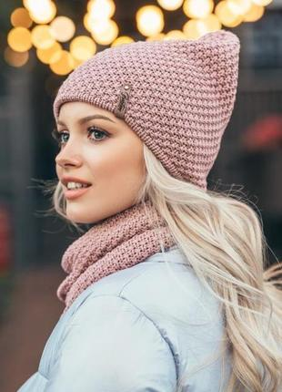 Комплект осень-зима,шапка двуслойная и шарф-хомут